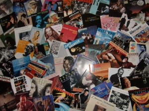 a collage of personal jazz memories~* laid across the livingroom floor...♥