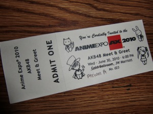"AKB48 ""Meet & greet"" winning ticket!"