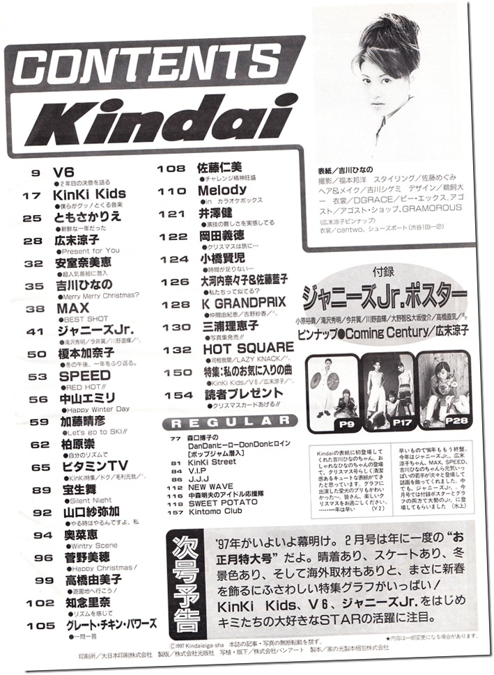 Kindai January 1997 contents page