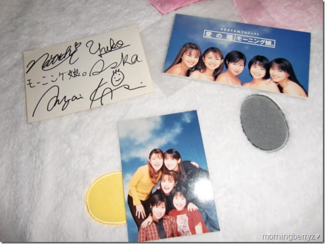 Asayan Project Morning Musume Ai no tane (1 of 50,000) cd single with group photo and signed post card (back, signed side)