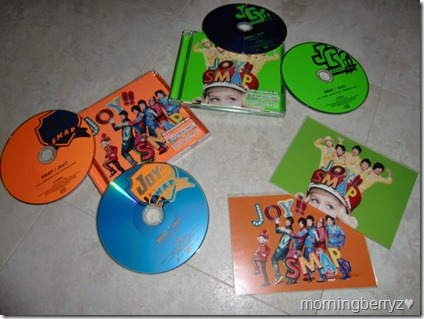 Smap Joy!! Vivid Orange & Lime Green single versions with first press post cards
