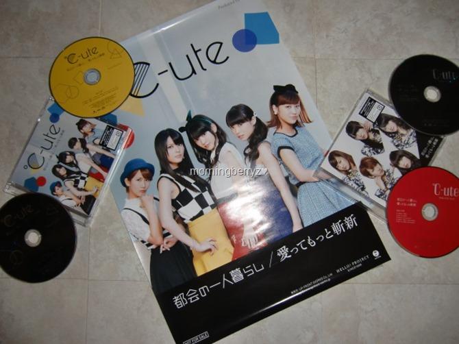 C-ute Tokai no hitorigurashi & Aitte motto zanshin LE singles types A & B with first press poster extra