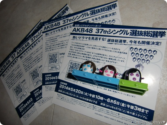 AKB48 37th single General Election voting code sheets