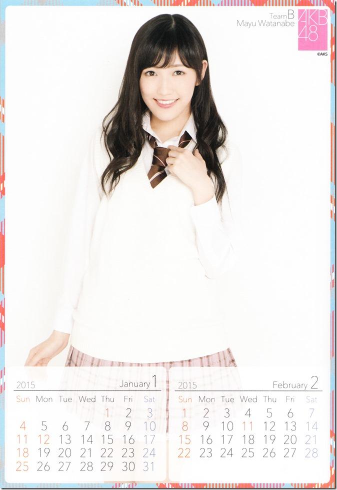 2015 Watanabe Mayu desktop calendar (2)