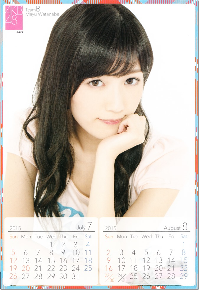 2015 Watanabe Mayu desktop calendar (5)