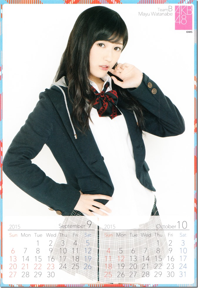 2015 Watanabe Mayu desktop calendar (6)